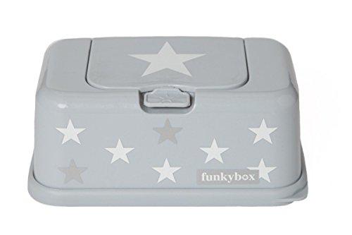 Funkybox Feuchttüchter-Aufbewahrungsbox - grau/silber mit Sterne