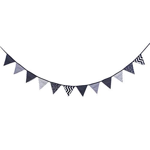 BESTOYARD 3M Wimpel Fahnen Banner Black & White Baumwollgewebe Bunting Garland 12 Dreieck Flaggen Dekoration für Hochzeit Geburtstag Prom Jubiläum