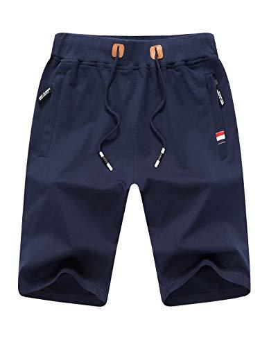 Tansozer Kurze Hose Herren Shorts Sommer Jogginghose Kurz Baumwolle Gym Sweat Shorts Herren Sport(Blau,XL) - Herren-baggy-hose