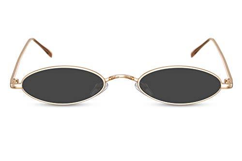 Cheapass Sonnenbrille Gold Klein Oval UV-400 Festival-Brille Metall Damen Frauen
