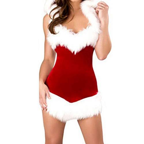 Sisaki Weihnachtsmann Damen Kostüm Miss Santa mit weißem Plüsch und Mütze für die Weihnachtsfeier oder Party ()