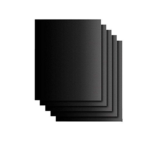 TININNA 5 Stück Grillmatte, Non-Stick BBQ Pad & Backmatten Wiederverwendbare Hitzebeständige Barbecue Pad BBQ Zubehör für Gas, Holzkohle, elektrische Grills EINWEG Verpackung - Non-stick Pads