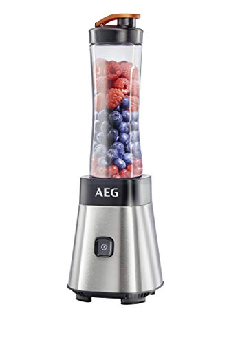 AEG PerfectMix SB 2400 Mini Mixer / Smoothiemaker mit 0,4 PS-Power-Motor (bis zu 23.000 U/min, bruchfeste 0,6 l BPA-freie Tritan-Trinkflasche, Standmixer mit gebürstetem Edelstahlgehäuse)