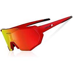 Queshark Gafas De Sol Polarizadas para Ciclismo con 3 Lentes Intercambiables UV400 MTB Bicicleta Montaña (Rojo)