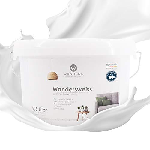 Wanders24® Wandersweiss (2,5 Liter, Weiß) Wandfarbe weiß hohe Deckkraft - Wandfarbe weiss - DIN13300 - Deckv. 1 - Nassab. 2 - Made in Germany