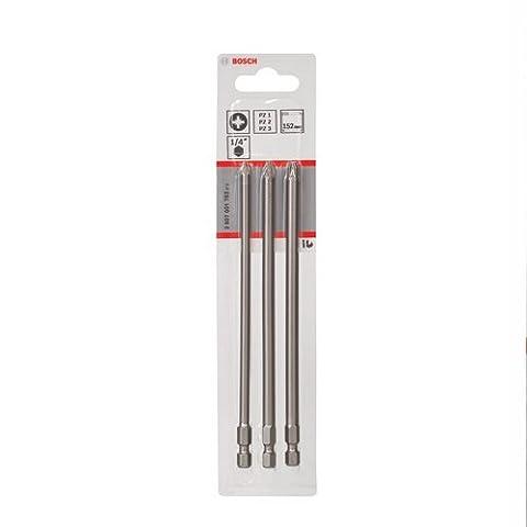 Bosch 2607001762 Embouts de vissage courts, qualité extra-dure, jeu de 3 pièces PZ1; PZ2; PZ3; 152 mm