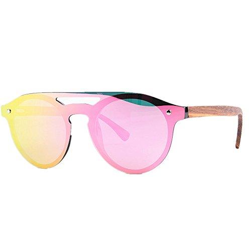 Yiph-Sunglass Sonnenbrillen Mode Sonnenbrillen der Frauen Persönlichkeit einteiliger Stil polarisierte PC-Rahmen TAC Objektiv Bambusbein UV-Schutz Fahren Angeln Strand Sonnenbrillen (Farbe : Rot)