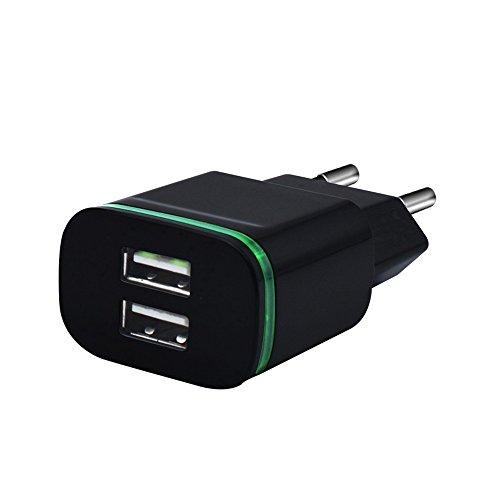 2.0A / 1.0A Wand Aufladeeinheit Mini Doppelanschlüsse USB LED Licht schnelles Aufladen Energien Adapter für Oneplus 5kingko Kann 2 Geräte gleichzeitig aufladen (Schwarz) (Aufladen)