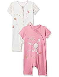 9a48d6af855d Mothercare Baby Girls  Regular Fit Cotton Romper Suit (Pack of 2)