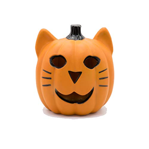 QEQ Halloween Katze Gesicht Kürbis Licht Horror Dekoration Requisiten Lustige Hohle Glühende Kürbis Kreative Szene Anordnung Dekoration (Lustige Gesicht Halloween-kürbis)