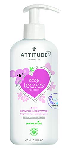 ATTITUDE Baby Leaves 2-in-1 Shampoo & Duschgel - parfümfrei (1 x 473 ml)