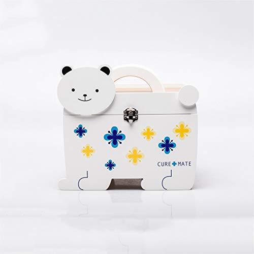 KLEDDP Medizinische Box Haushalt Holz mehrschichtige medizinische Box Medizin aufbewahrungsbox tragbare erste Hilfe Box 22 × 16 × 14,5 cm Aufbewahrungsbox für Medikamente