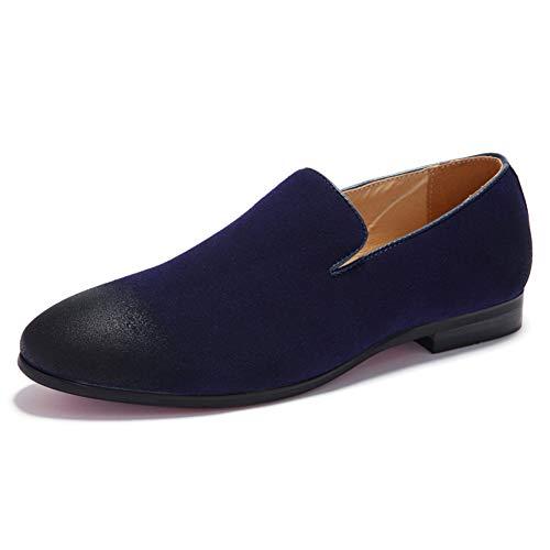 Herrenschuhe, bequeme Loafers Schuhe Fashion Driving Schuh Soft Flat Shoes Soft Loafers & Slip-One Leichtfahrt Round Toe Shoe Walking Shoe,Blue,42 Moc Slip