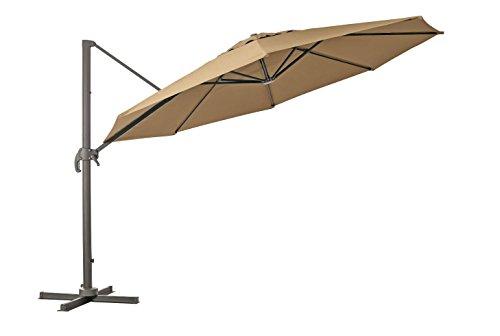 Pendelschirm 'Kolos 400' 360 Grad drehbar und am Mast neigbar von RRR in der Farbe taupe - greige