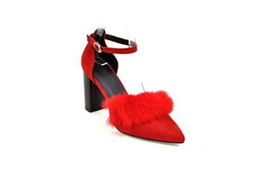 Beauqueen Pumps Frauen Frühling und Sommer High Heel Vintage Wildleder Shallow Toe Weibliche Bankett Grau Schwarz Rot Lässige Schuhe Europa Größe 33-43 Red