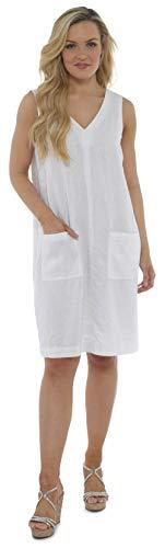 CityComfort Sommer-leinenkleid Für Damen, Locker Geschnittene, Ärmellose V-Ausschnitt, Knielang Und 2 Fronttaschen | Petite Bis Plus Kleider Größe Damenmode Erhältlich (38, Weiß)