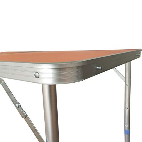 Vimele Table Pliante en Plein air Portable Table Pliante en Aluminium de Pique-Nique Table Pliante en Aluminium (Couleur : Orange)