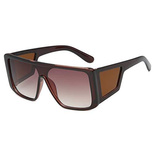BOLANQ Damenmode Maske Sonnenbrille integrierte quadratische Breite Brille(Mehrfarbig(B))