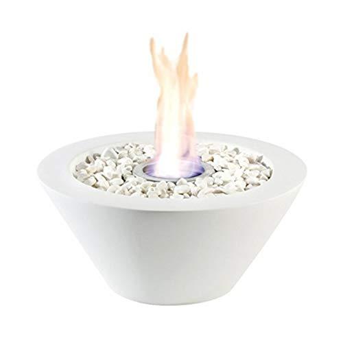 Tischkamin Tischfeuer Feuerschale Bio Ethanol & Brenngel Tischdeko Kamin (Weiß)