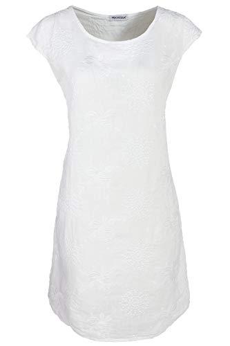 PEKIVESSA Damen Leinenkleid mit Stickerei Kurzarm Knielang Weiß 46 (Herstellergröße XXXL)