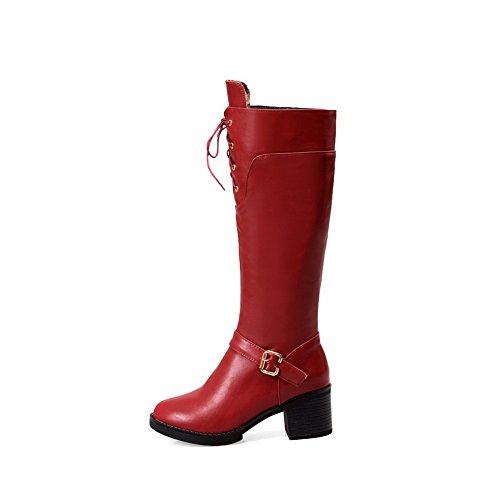 AllhqFashion Damen Mittler Absatz Rein Rund Zehe Mattglasbirne Reißverschluss Stiefel, Rot, 36