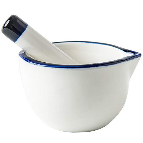 ZZKJLYN Trituradora De Mano De 10,3 Cm De Porcelana Blanca Y Mortero Trituradora De Mano,White
