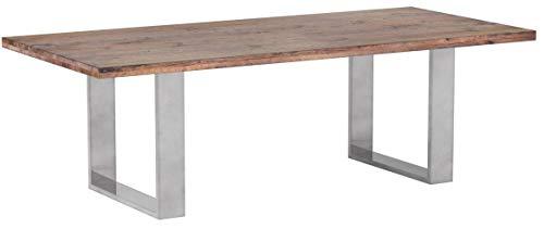 Robas Lund, Tisch, Esszimmertisch, Castello, Eiche/Massivholz/Bassano/Edelstahl gebürstet, 180 x...