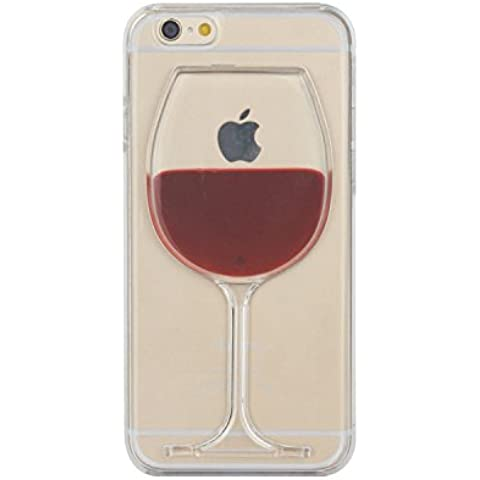 Tailcas® Cover per iPhone 6, 3D Creative Design Ultra Slim Liquido Liquid Bicchiere Di Vino Rosso Clear Trasparente di plastica dura della Custodia Case Cover for iPhone 6 4.7 Pollice - (Red Wine Goblet) - Superiore Cowl