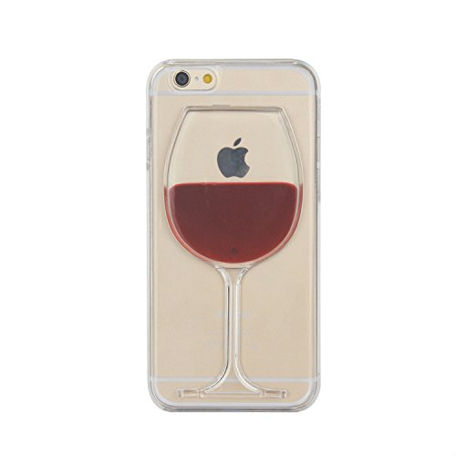 Tailcas® Cover per iPhone 6, 3D Creative Design Ultra Slim Liquido Liquid Bicchiere Di Vino Rosso Clear Trasparente di plastica dura della Custodia Case Cover for iPhone 6 4.7 Pollice - (Red Wine Goblet)