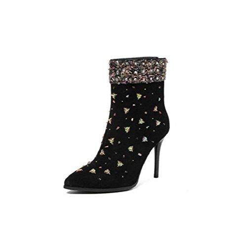 YYH Chaussures à talons hauts à talons hauts et à boutons Black