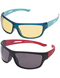 Vast Combo Of Day and Night Non-Polarized Sport Unisex Sunglasses(Yellow and Grey Lens, COMBO_NT_BYK_RGK)