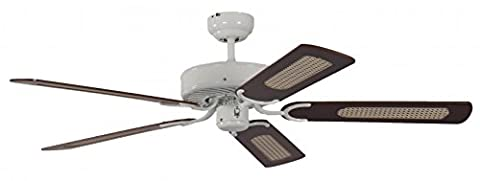 Pepeo 13312010132_v4 Potkuri Lacquer Ceiling Fan with Mahogany Blades - White