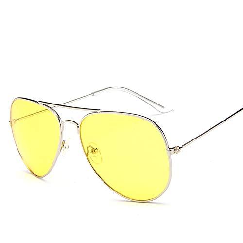 WWVAVA Sonnenbrillen Neueste Mode Ozean Sonnenbrille Für Frauen Marke Metallrahmen Gelbe Sonnenbrille Rosa Objektiv Sonnenbrille Gelbe Brille Aviator, c3