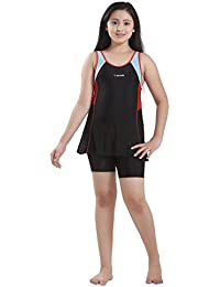 Rovars Girls Swimwear Thick Strap Swimdress with Boyleg