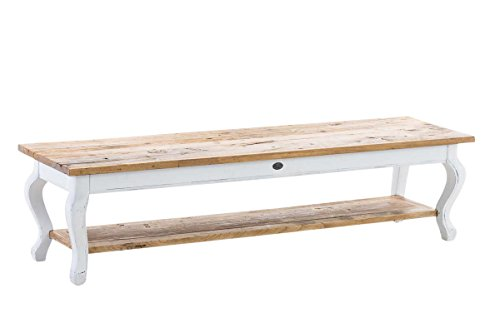 CLP Table Basse Vartan en Bois Massif, Table Basse du Salon, Hauteur en. 40 cm, 165x45 cm Blanc
