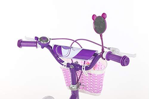 Geekbot Bicicletta bambino ragazza 12 pollici – Bambino 3-6 anni – Pneumatico gonfiabile – Vestibilità comoda – Piccola cablata – Pneumatico principessa con pneumatici bianchi - 4