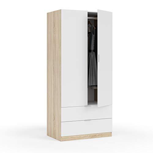 Habitdesign LC1222F - Armario Dos Puertas, Acabado en Color Roble Canadian y...
