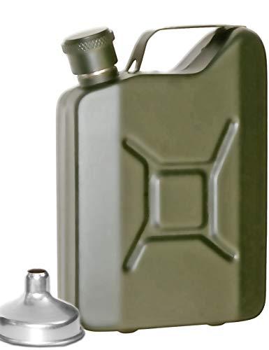 Outdoor Saxx® - Fiaschetta in acciaio inox Sprit effetto tanica a benzina/ bottiglia per whisky e grappa in confezione regalo | 50 ml verde oliva
