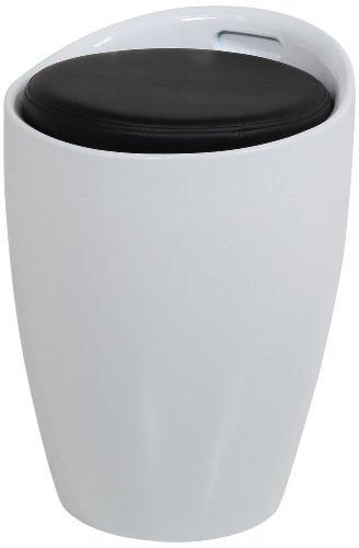 Produktabbildung von AC Design Furniture 0000062744Sitzhocker Amalie weiß, Sitzkissen Kunstleder schwarz mit Stauraum und Griff, circa 35,5 x 51 cm