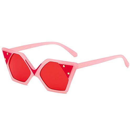 MJDABAOFA Sonnenbrillen,Fashion Design Frauen Sonnenbrille Rosa Rahmen Rote Linse Neue Style Spiegel Objektiv Sonnenbrillen Brillen Gradient Shades Sonnenbrille Uv400