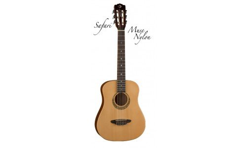 Luna Guitars SAF NYL - Guitarra acústica con cuerdas metálicas, color marrón