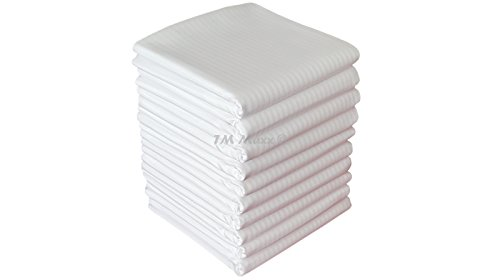 Hotelbettwäsche Satinbaumwolle Damast mit Streifen 155g/m2 Kissenbezug Bettbezug diverse Ausführungen (40 x 40 cm, Weiß (Streifenbreite 0,4 cm)) -