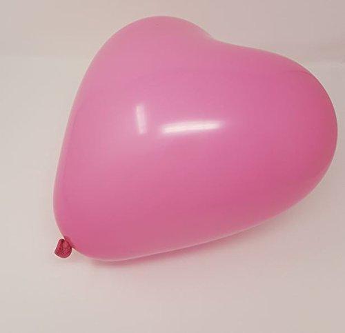 50 große Herzballons pink und weiß Luft und Ballongas geeignet EU Ware (Versorgt Luftballons)