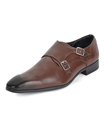 Ziraffe CAPARO Genuine Leather Brown Men's Monk Strap Formal Shoes (9 UK)