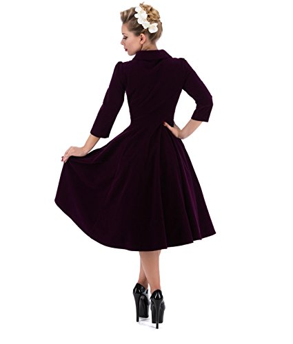 3067 H&R Hearts and Roses London 50's Glamorous Velvet Tea Dress – UK 16 (XL) / Purple
