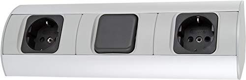 Aufbau Aluminium Steckdosenleiste 2-fach mit Schalter - horizontal + vertikal - 230V 3600W