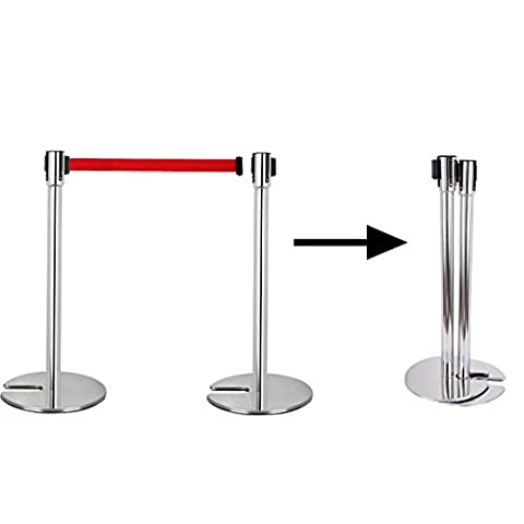 Iglobalbuy 2x U Shape Retractable Stackable Rope Crowd Control Stretch Barriers Line Queue Posts Stands
