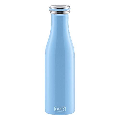 Lurch 240909 Thermoflasche Thermo-Flasche für heiße und kalte Getränke aus Doppelwandigem Edelstahl, 0,5l, light blue,