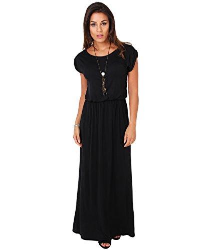 KRISP Damen Bodenlanges Kleid Jersey Maxikleid_(G3269-BLK-10.3)