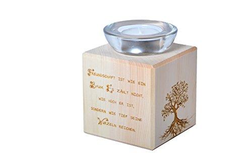 Teelichthalter aus Zirbenholz Freundschaft ist wie ein Baum
